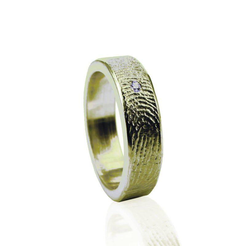 Vingerafdruk Ring Goud met Pave Gezette Zirkonia 0101-01G