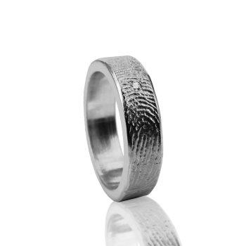 Vingerafdrukring 0101-01 zilver