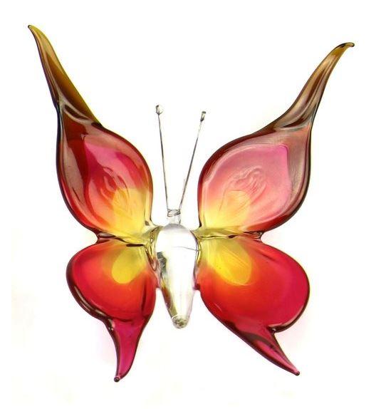 Accessoires Vlinder Large Roze Geel B01BRY