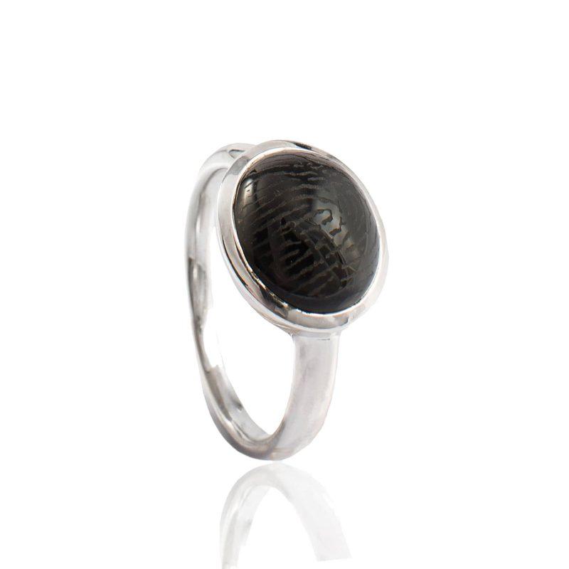 Ring met Vingerafdruk in Ovale Onyx Zilver 0180-00Z