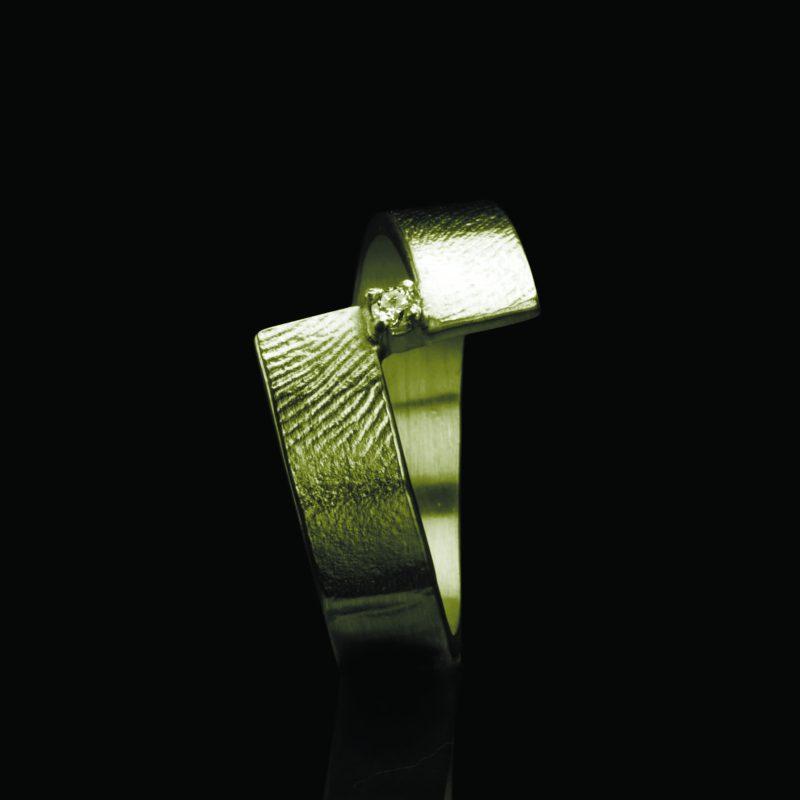 Vingerafdruk Ring Goud met Chaton en Steen 0102-10G