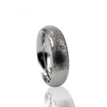 Vingerafdruk Ring RVS met 3 Pave gezette Zirkonia 0115-03R