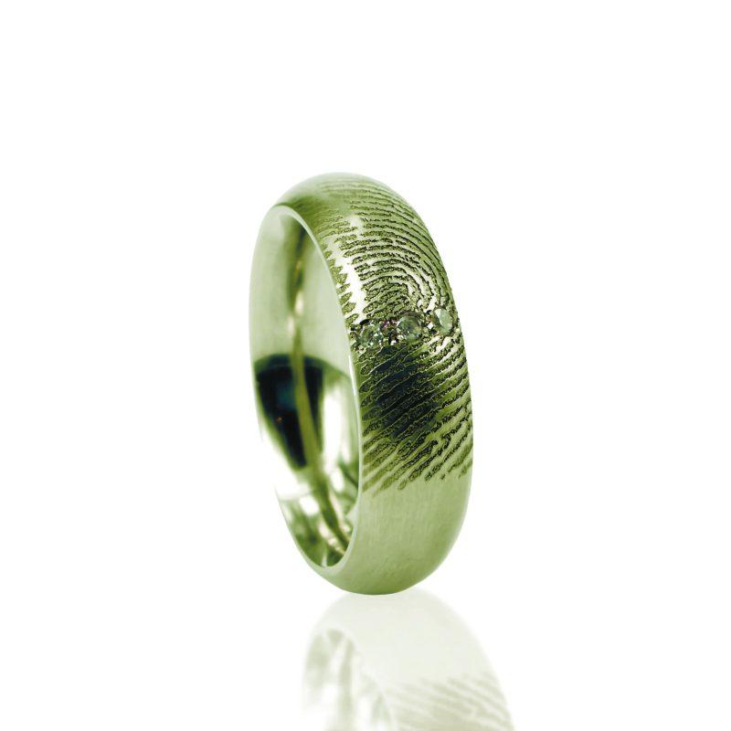 Vingerafdruk Ring met 3 Pave Gezette stenen Goud 0115-03G