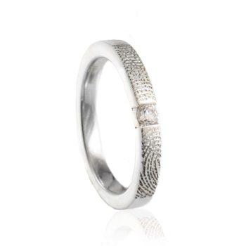 Vingerafdruk Ring met 3 mm Zirkonia Zilver 0179-00Z