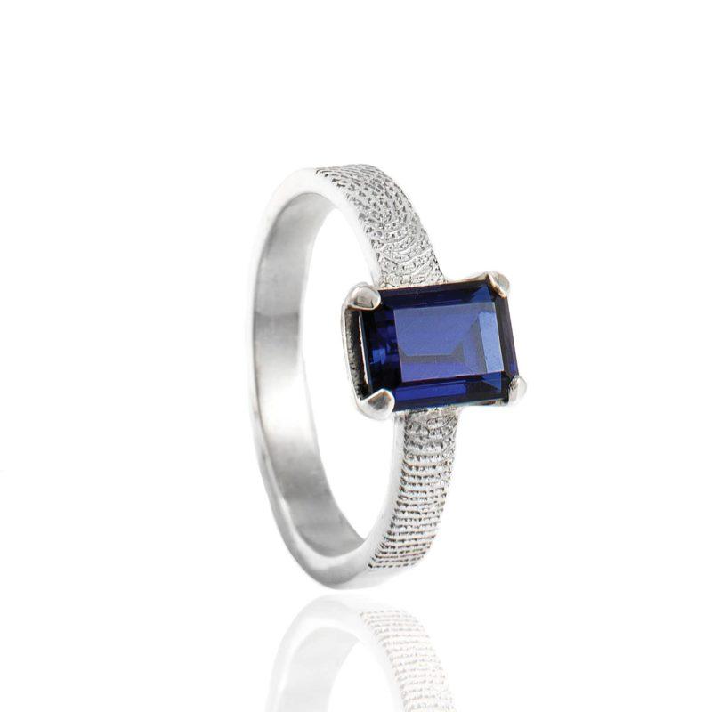Vingerafdruk Ring met Rechthoekige Saffier Zilver 0182-00Z
