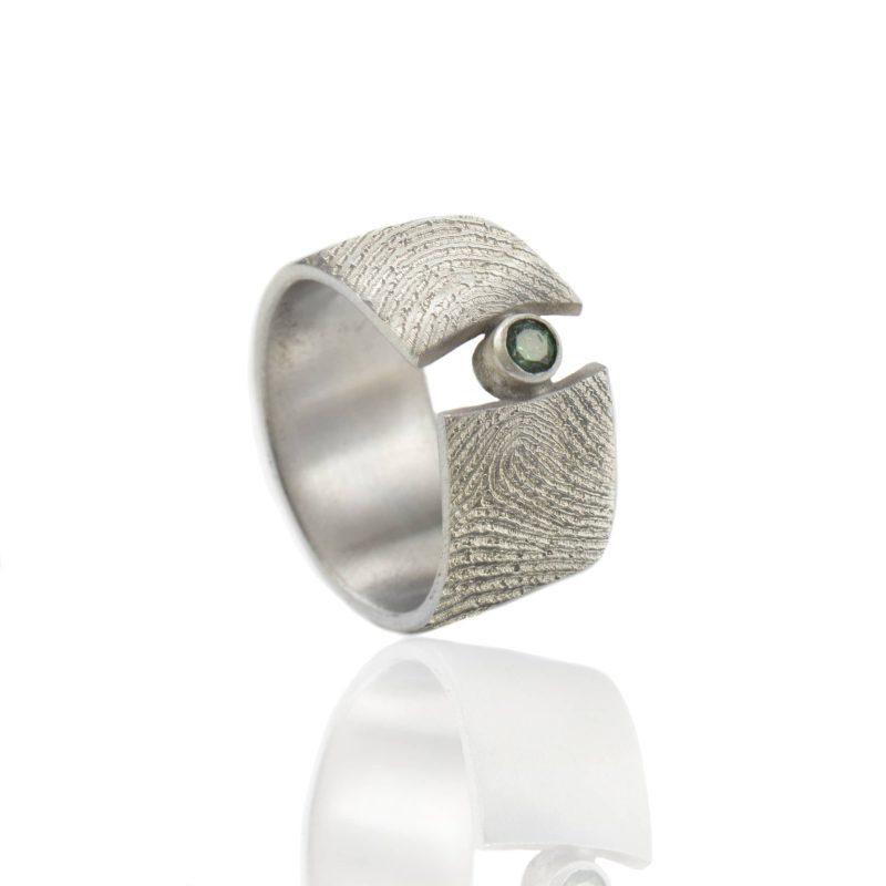 Vingerafdruk Ring met Zetkast en Smaragd 3 mm Zilver 0183-00Z