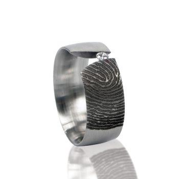 Vingerafdruk Ring van Titanium met Zirkonia 0116-00T