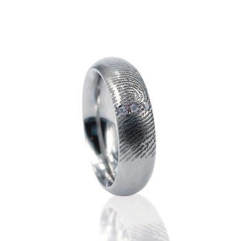 Vingerafdruk ring met 3 pave gezette Zirkonia 0115-03Z