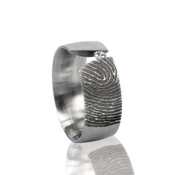 Vingerafdruk ring sterling zilver met Zirkonia 0116-00Z