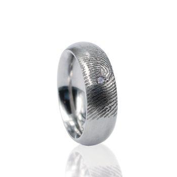 Vingerafdruk ring sterling zilver met pave gezette zirkonia 0115-01Z