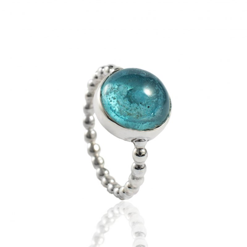 Bolletjes ring met glazen as cabochon 11.123-000