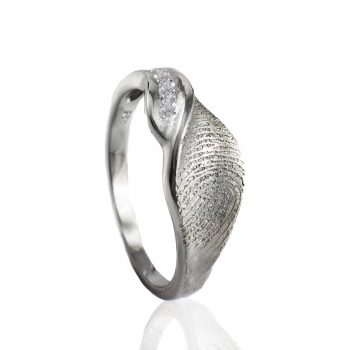Design Ring sterling zilver met Vingerafdruk en 3 pave gezette Zirkonia 0160-03Z