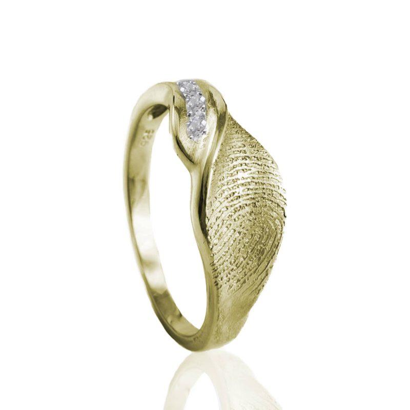 Designer Ring met Vingerafdruk en 3 Pave Gezette Zirkonia Goud 0160-03G