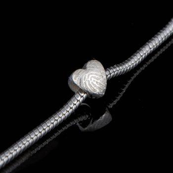 Hartvormige Vingerafdruk Bead Sterling Zilver 0502-00Z