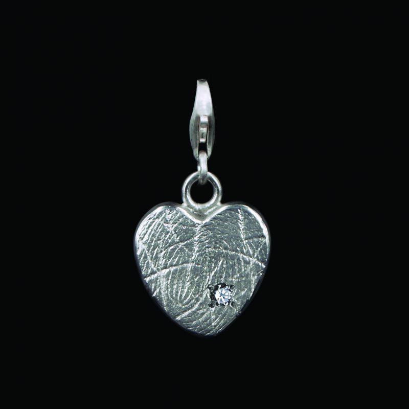Hartvormige Vingerafdruk Bead 1,5mm Zirkonia Sterling Zilver 0503-01Z
