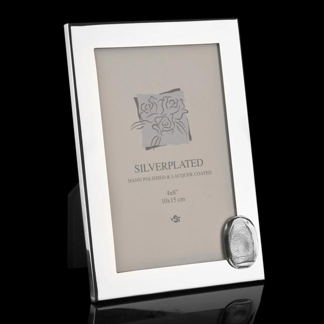 Verzilverde fotolijst met zilveren ovale afdruk 0423-00