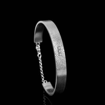 Vingerafdruk Armband Zilver met 3 Pave Gezette Zirkonia 0318-03Z