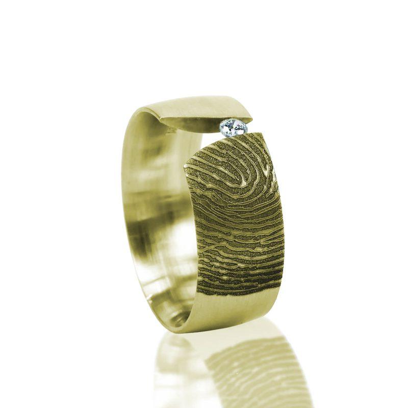 Vingerafdruk Ring Goud met Zirkonia 0116-00G