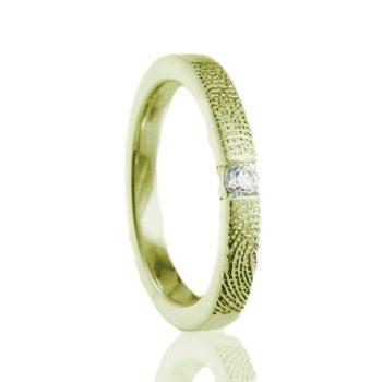 Vingerafdruk Ring met 3 mm Zirkonia Goud 0179-00G