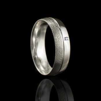 Vingerafdruk Ring met Groef en Zirkonia Sterling Zilver 0169-01Z