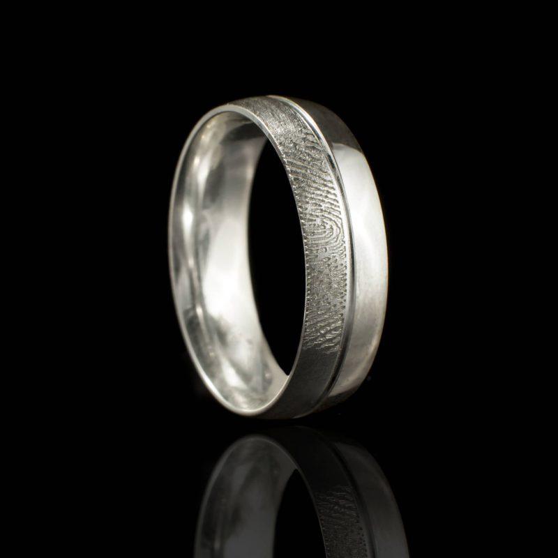 Vingerafdruk Ring met Groef sterling Zilver 0169-00Z