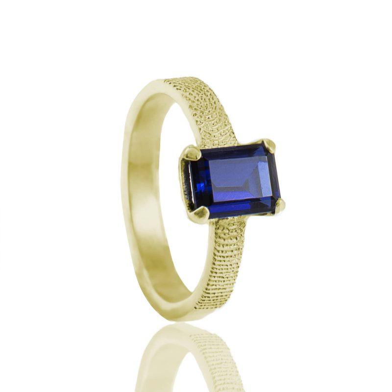 Vingerafdruk Ring met Rechthoekige Saffier Goud 0182-00G