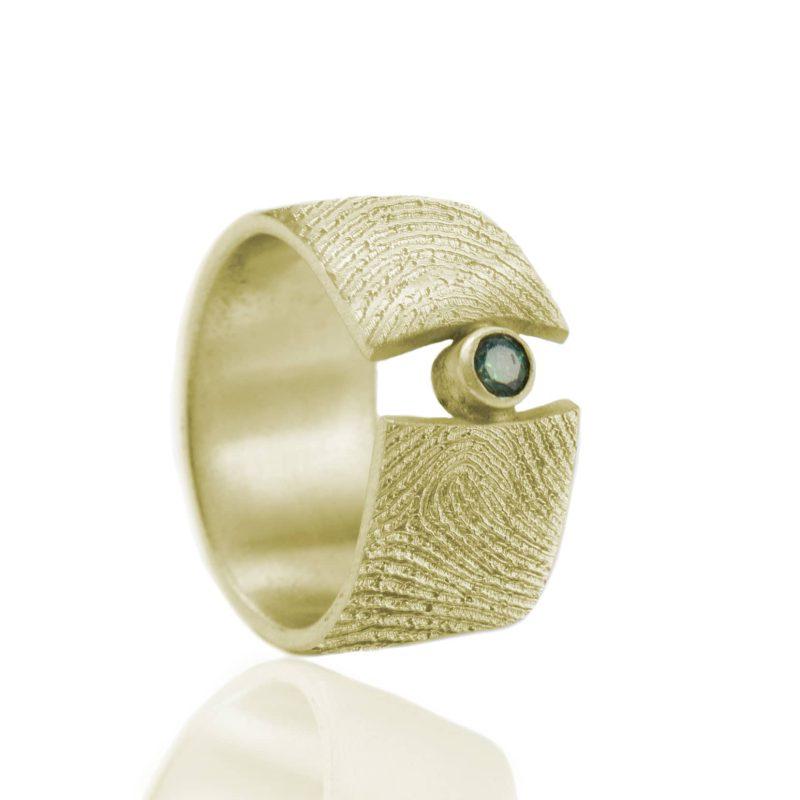 Vingerafdruk Ring met Zetkast en Smaragd 3 mm Goud 0183-00G