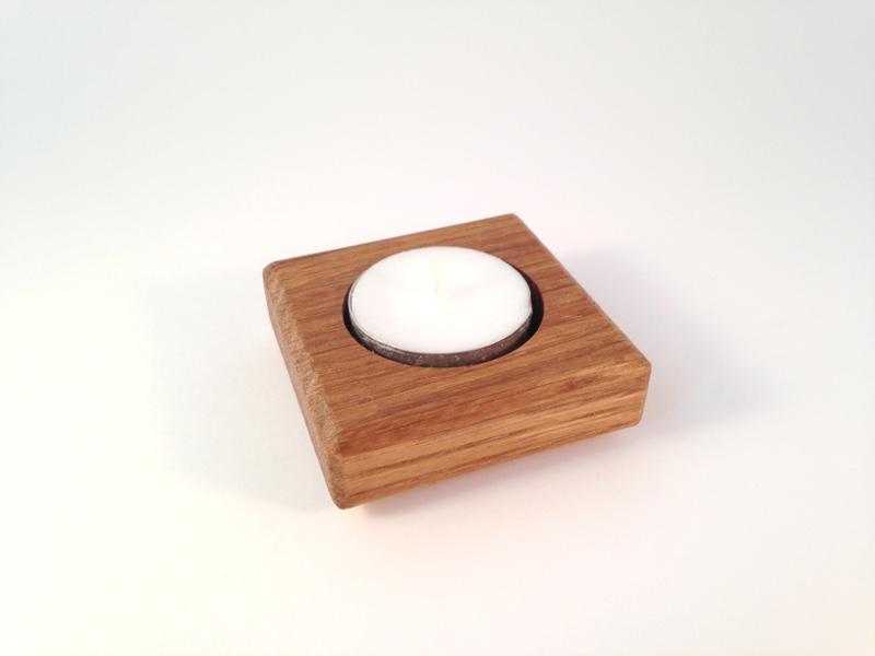 Waxinelichthouder eikenhout Treasurebox olie 17-018