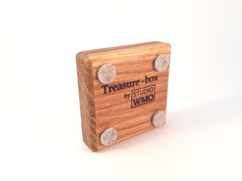 Waxinelichthouder eikenhout Treasurebox onderkant olie 17-018
