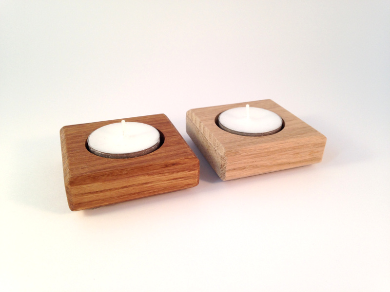 Waxinelichthouder eikenhout Treasurebox naturel en olie 17-018