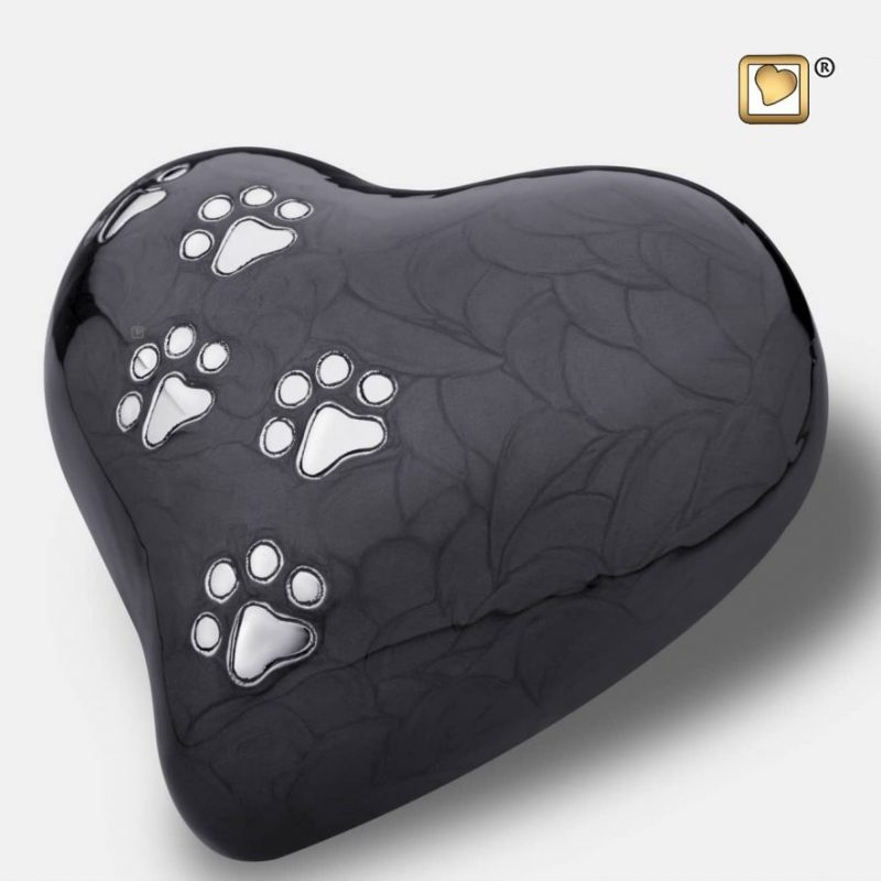 Heart Pet Urn Pearl Midnight & Brushed Pewter Large P6401L