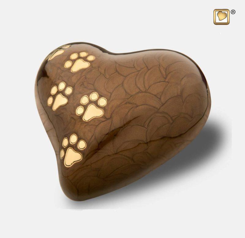 Keepsake Heart Pet Urn Pearl Bronze & Brushed Gold P6391S