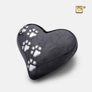 Heart Pet Urn Pearl Midnight & Brushed Pewter Small P6401S