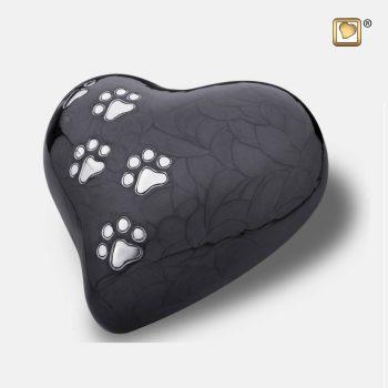 Heart Pet Urn Pearl Midnight & Brushed Pewter Medium P6401M