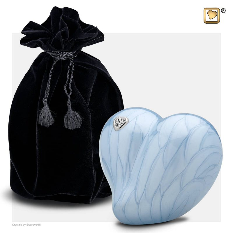 LoveHeart Child Urn Pearl Blue & Polished Silver with Swarovski P1002