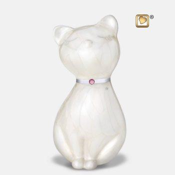 PrincessCat Pet Urn Pearl White & Bru Pewter w/Swarovski P263