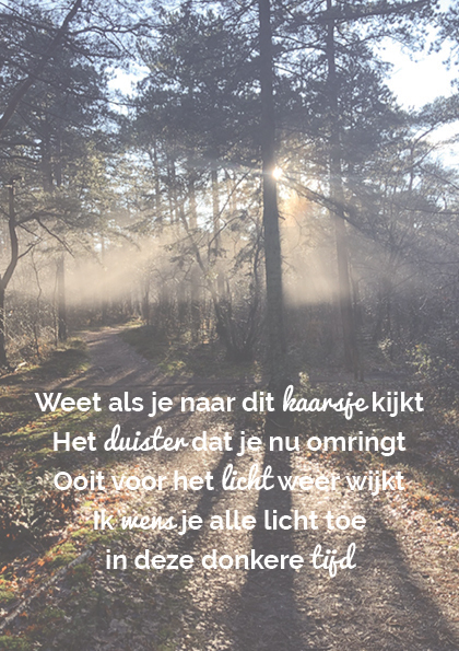 Troostgeschenk gedicht 2 bosachtergrond