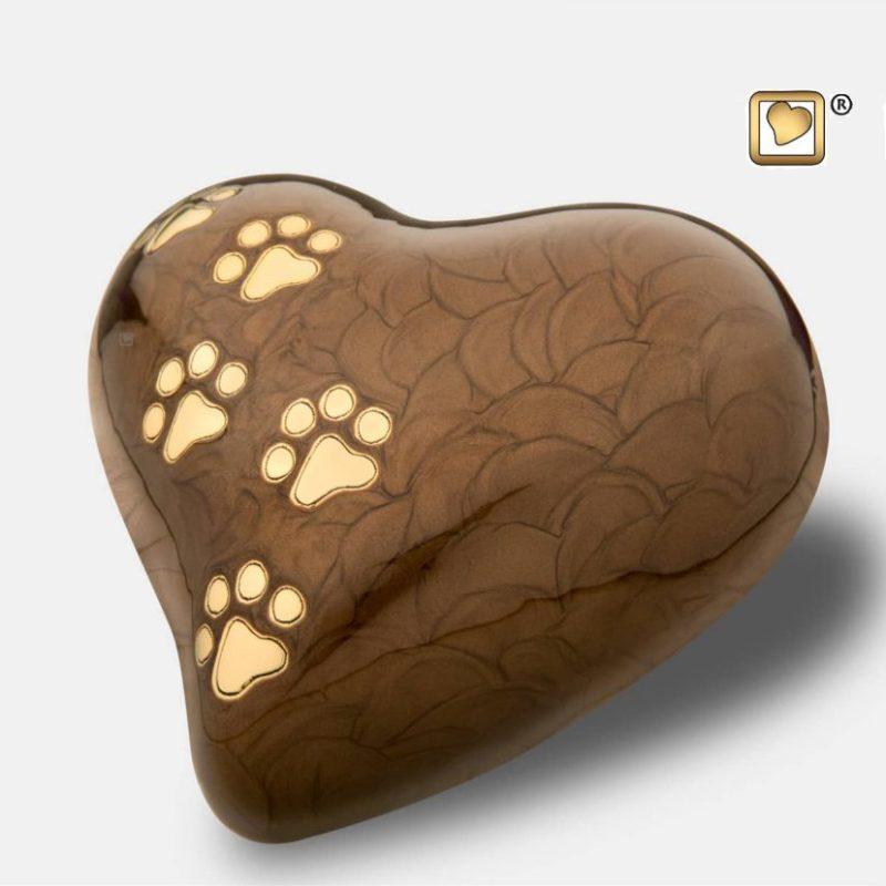 Heart Pet Urn Pearl Bronze & Brushed Gold Large P6391L