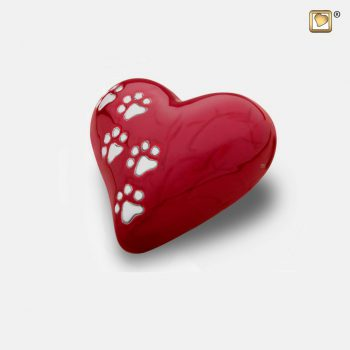 Heart Pet Urn Pearl Red & Polished Silver Small P637S