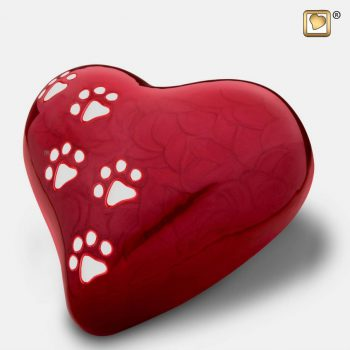 Heart Pet Urn Pearl Red & Polished Silver Large P637L