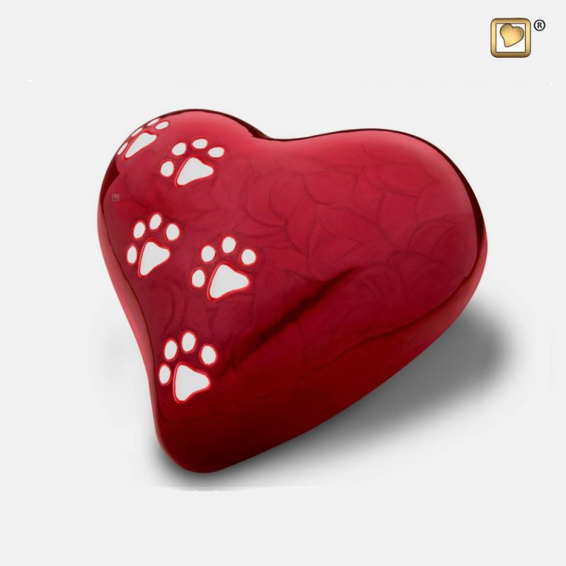 Heart Pet Urn Pearl Red & Polished Silver Medium P637M