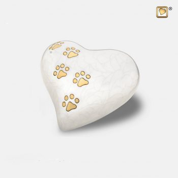 Heart Pet Urn Pearl White & Brushed Gold Small P638S