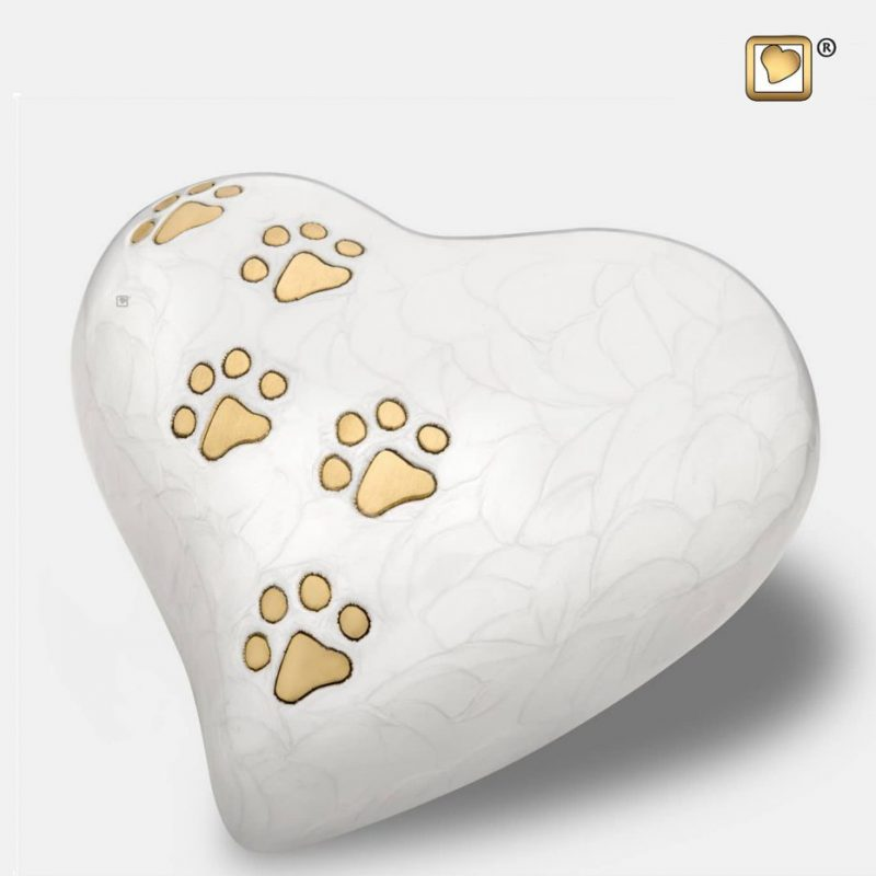 Heart Pet Urn Pearl White & Brushed Gold Large