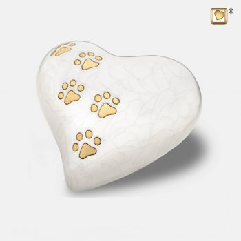 Heart Pet Urn Pearl White & Brushed Gold Medium