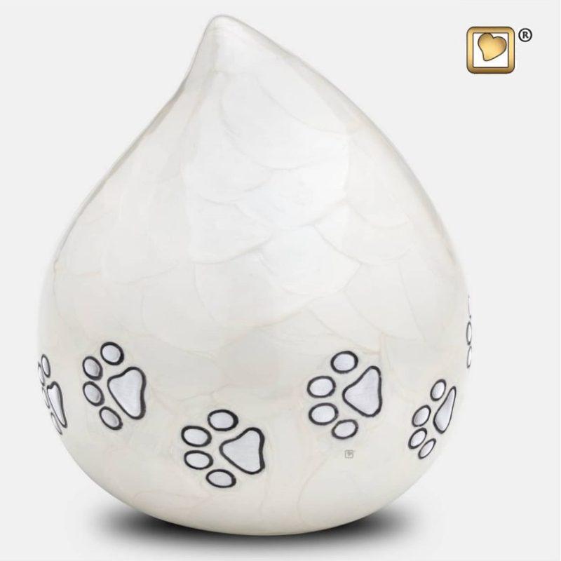 LoveDrop Pet Urn Pearl White & Brushed Pewter P635