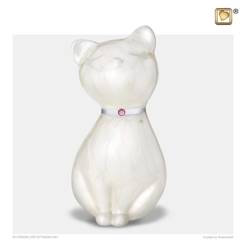 PrincessCat Pet Urn Pearl White and Brushed Pewter with Swarovski P263
