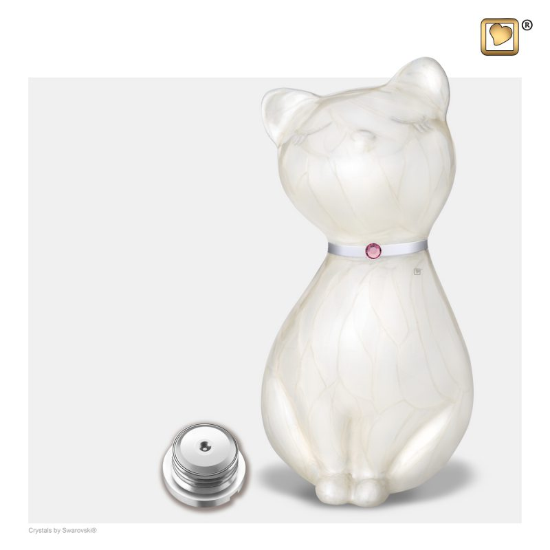 PrincessCat Pet Urn Pearl White and Brushed Pewter with Swarovski P263_a