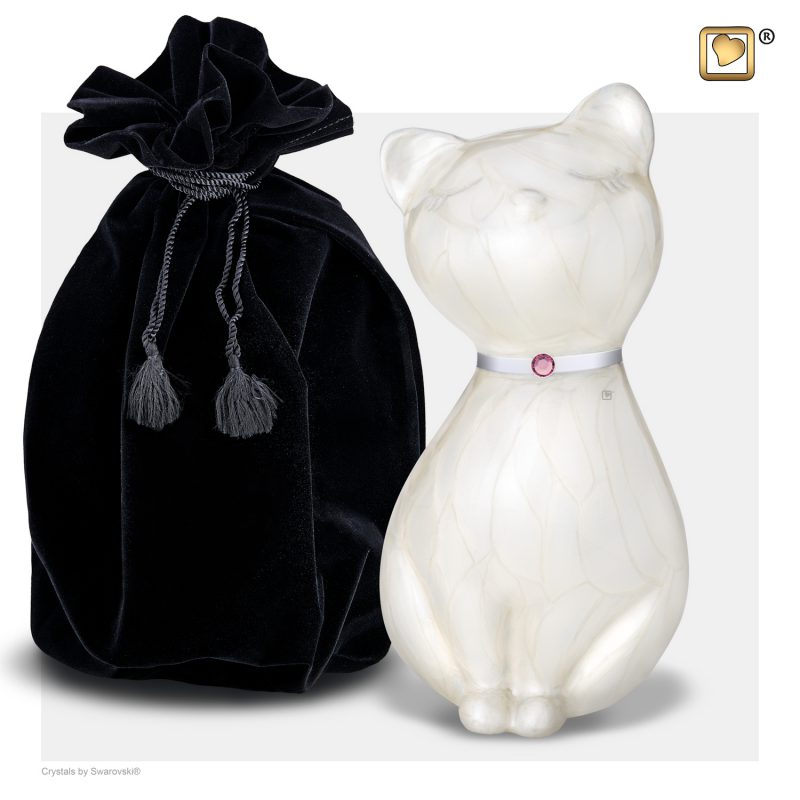 PrincessCat Pet Urn Pearl White and Brushed Pewter with Swarovski P263_v