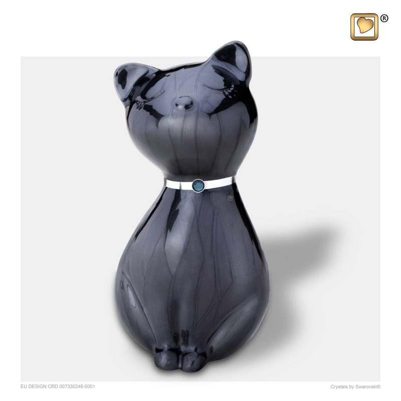 PrincessCat Pet Urn Pearl Midnight and Brushed Pewter with Swarovski P264