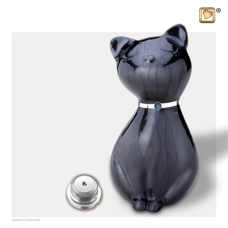 PrincessCat Pet Urn Pearl Midnight and Brushed Pewter with Swarovski P264_a